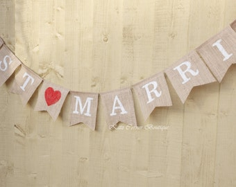 Just married bunting wedding decoration photo prop, red