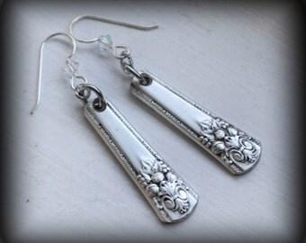 Silverware Earrings, Spoon Handle Earrings with Sterling Silver Ear Wires, Crystal Silver Spoon Jewelry Adoration Silver Plate