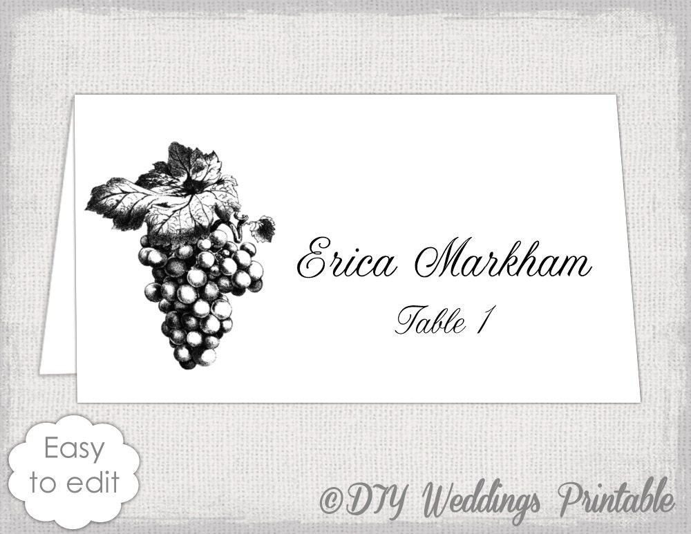 place card template grapes name card templates. Black Bedroom Furniture Sets. Home Design Ideas
