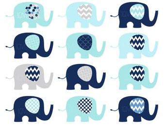 Baby Elephants Clip Art Set  / Elephant Illustration / Printable Clip Art / Commercial / Aqua Navy / Children / Nursery Art