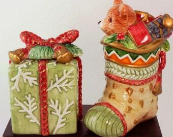 Ceramic Salt and Pepper Shaker, Fitz and Floyd, Fitz and Floyd Christmas, Fitz and Floyd Salt and Pepper Shaker, Fitz & Floyd Christmas