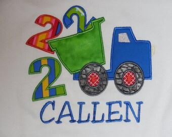 Birthday Dump-truck applique With Name, Dump Truck birthday shirt