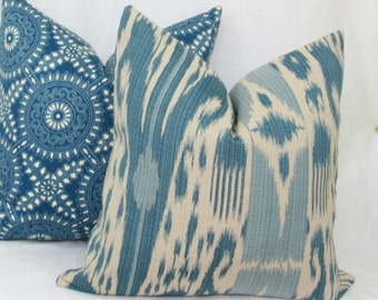 "Blue ikat decorative pillow cover. 18"" x 18"". 20"" x 20"". 22"" x 22"". 24"" x 24"" . 26"" x 26"