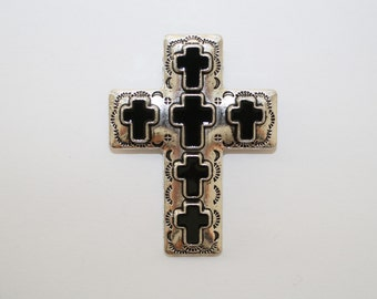 Large Antique Silver Cross Pendant With Black Crosses 42x55mm - 1ct - #271