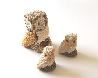 Retro seashell owl trio, kitchy owls made of seashells, beach decor