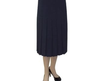 "Baby'O Women's Dark Navy Blue 2"" Narrow Box Pleated Knee Length Midi Skirt, 2408 NVY"