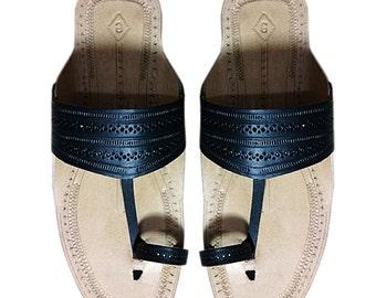 Black Belt Men Leather Sandal DLC-M-032