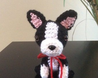 Boston Terrier Stuffed Animal, Handmade Plush Dog, Amigurumi