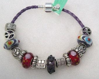 426 - CLEARANCE - Red & Purple Beaded Bracelet
