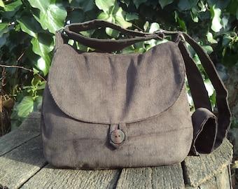 Brown corduroy shoulder bag,buttoned bag,shoulder bag