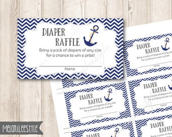 Printable Nautical Diaper Raffle Tickets, Navy Blue, Anchor Baby Shower Printables, INSTANT DOWNLOAD