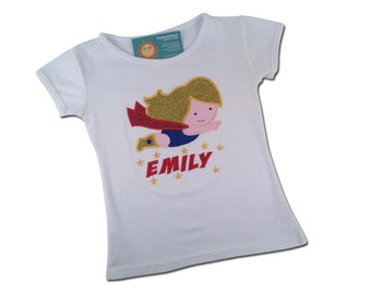 Girl's Super hero Shirt with Flying Girl and Embroidered Name in Stars