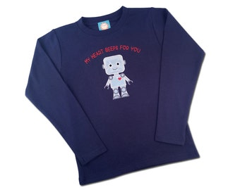 Boy Valentine Robot Shirt 'My Heart Beeps For You'