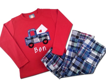 Boy's Valentine Outfit with Valentine Mail Truck Shirt and Matching Plaid Pants - M27