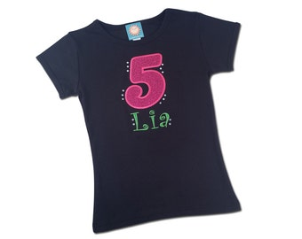 Girl's Birthday Shirt with Glitter Number, Name and BLING