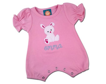Baby Girl's '1st Easter' Pink Romper with Easter Bunny and Name