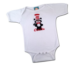 Boy Cat with Hat Bodysuit and Embroidered Name