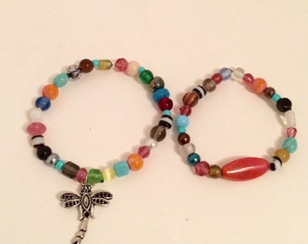 Dragonfly charm gypsy beaded boho bracelet set of 2