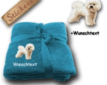 Fluffy Blanket embroidered with BICHON FRISÉ + own words