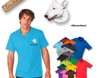 Polo shirt cotton embroidered embroidery dog BULL TERRIER + own words