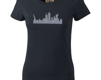 "Women's T-shirt with rhinestones print ""NEW YORK"" Skyline"