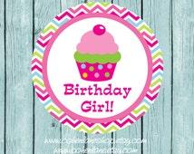 Instant Download Printable Cupcake Iron On Transfer Design. Birthday Girl Chevron Iron On. Birthday Girl Chevron Cupcake Iron on Transfer.