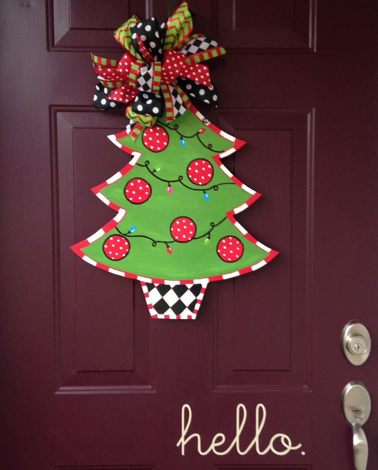 Christmas tree hand painted wooden door by