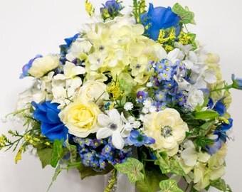 SILK FLOWERS WEDDING bouquets blue