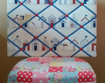 Fabric notice board - Beach hut blue