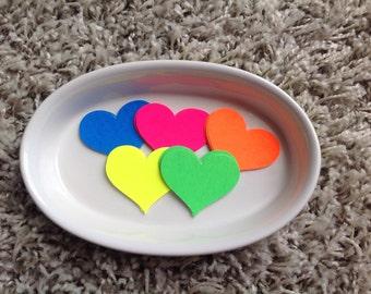 Neon tags, 25 love heart die cuts , fluorescent die cuts, card stock die cuts, neon cardstock, neon tags
