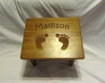 Custom Engraved Wooden Toddler Step Stool- Footprints
