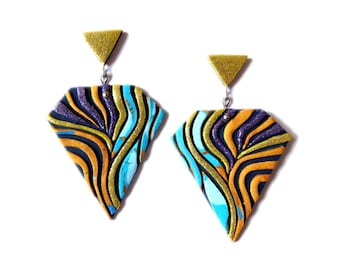 Polymer Clay Earrings, Neon Dangle Earrings, Gold PurpleTurquoise Earrings, Statement Earrings, Geometric Earrings, Color Block Earrings