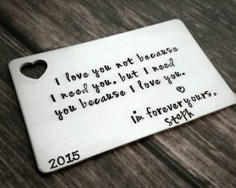 Wallet insert, hand stamped wallet card, custom wallet insert, personalized wallet card, personalized message, love note, men's gift