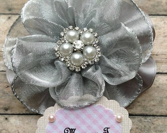 Grey & White Mommy To Be Baby Shower Corsage Badge its a Girl Baby Shower Grandma To Be Corsage