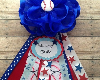 Baseball Mommy To Be Corsage Grandma to Be Corsage Baseball Theme Baby Shower Corsage Its a Boy Royal Blue  Fabric Flower Corsage