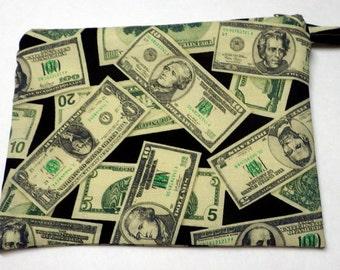 Flat Money Pouch, Money Bag, Money Purse, Cosmetic Bag, Cosmetic Purse, Organizer Bag, Organizer Purse, Small Bag, Money Print
