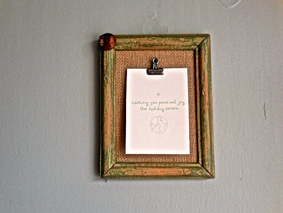 Upcycled Wall Clip Frame Holder Distressed Paint