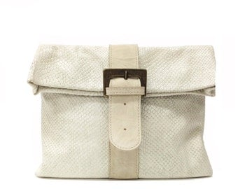 Sale!!! Embossed off white Leather clutch purse, Fold over Clutch, Envelope Leather clutch bag, Buckle clutch Bag