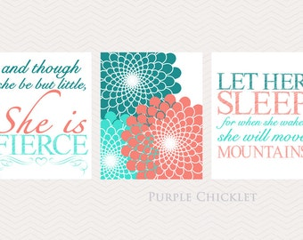 Let Her Sleep And Though She Be But Little She is Fierce Coral Teal Turquoise Flower Burst Nursery Wall Art Art for Kids Room Set 175(a)165