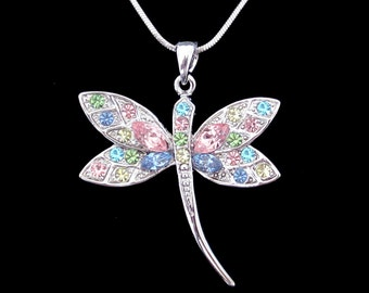 Crystal Dragonfly Pendant Charm Chain Necklace Silver Tone Multi