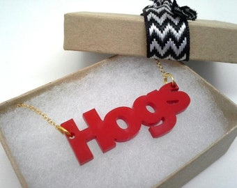 Arkansas Razorback WPS HOGS Red Acrylic Necklace