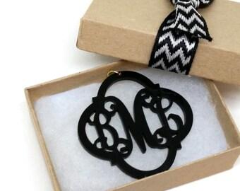 "Large 2"" Moroccan Black Acrylic Monogram Necklace"