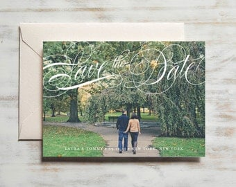 Fancy Script Save the Date | Photo Save the Date Card