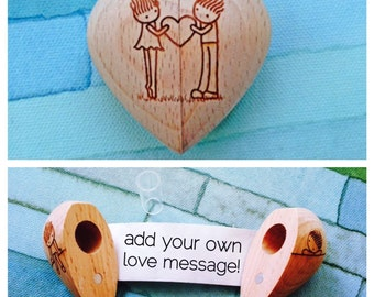 Wooden Heart with Secret Compartment and Scroll-Shared Heart Design