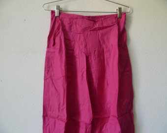 Vintage 1980s Women High Waist Pants, Elastic Waist Pink Pants, New Old Stock, Made in India