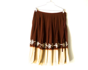 Vintage 80s Brown Biege Skirt, Pleated Skirt, Zashi New Old Stock, Size Large