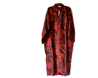 Vintage New 1980's Zushi Red Black Loose Long Dress/ Made in India
