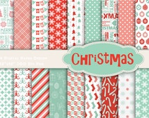 Instant Download Christmas Holiday Digital Paper Pack Christmas Scrapbook Paper Pack - Damask Floral Geometric - Pink Red White Blue 0118