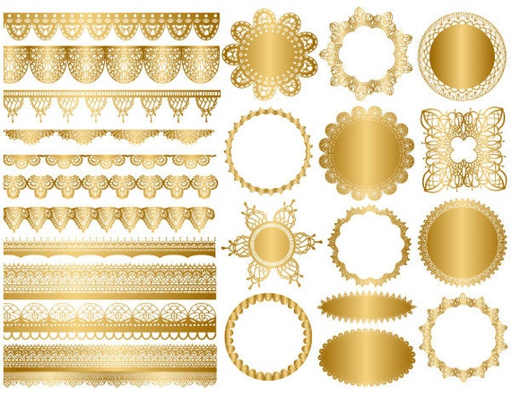 GOLD Digital Lace Doily Clipart Lace Doily Clip Art Gold Lace