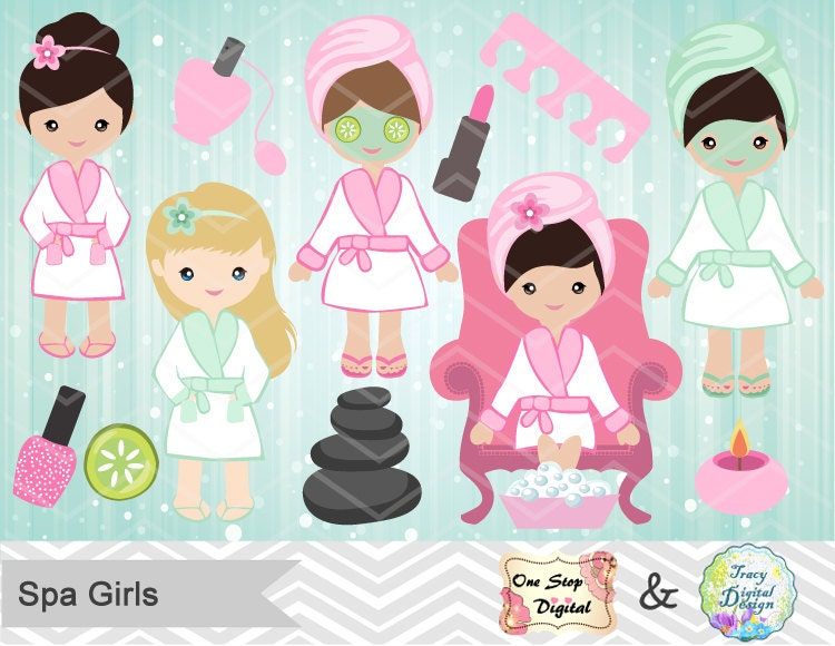 Spa Party Digital Clipart Spa Girls Clip Art Girls Spa Party